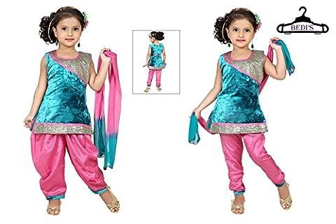 Baby Girl Salwar Suit New Born Infant Frock Suit Churidar Legging Dress Wedding Prom Partywear Top Shirt+Leggings Toddler Ethnic Traditional Dupatta Suit - BLUE & PINK - 2 -3 Years (BGWC-516A_BLPNK)