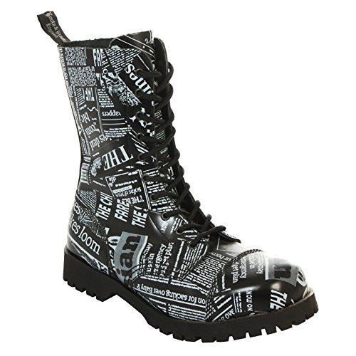Boots & Braces Bottes rangers avec lacets 10trous, Noir Newspaper Print Noir - Noir