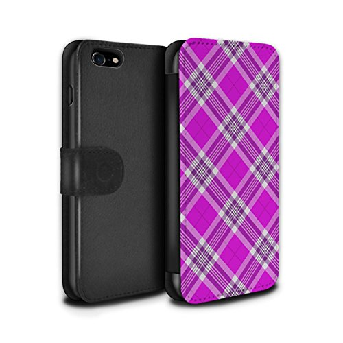 Stuff4 Coque/Etui/Housse Cuir PU Case/Cover pour Apple iPhone 8 / Gris Design / Tartan Pique-Nique Motif Collection Rose