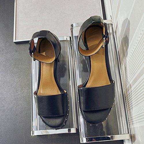 Damen Open Toe Sandalen Kuhleder Mittelhohem Blockabsatz Knöchelriemchen Schnalle Schwarz
