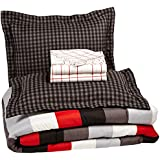 AmazonBasics 7-Piece Bedsheet Set - Full/Queen, Simple Stripe (Includes 1 bedsheet, 1 Comforter, 4 Pillowcases, 1 Fitted Sheet, Red)