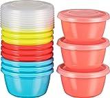 Haushaltsdose Mini-Tiefkühldose Frischhaltedose 250ml rund 12er Set bunt