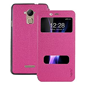 Heartly GoldSand Sparkle Luxury PU Leather Window Flip Stand Back Case Cover For Coolpad Note 3 / Coolpad Note 3 Plus - Cute Pink