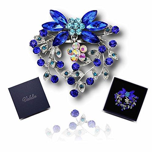 Blue Rhinestone Flower Brooch. Women Corsage Luxury Butterfly Pin . Parties Wedding Fashion Sapphire Blue Crystal Flower Bouquet Brooch in a Wonderful Gift Box.