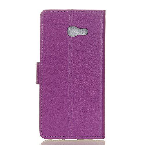 Solid Color Litchi Hautmuster Faux Ledertasche, Retro Folio Stand Case mit weichen Rückenabdeckung Geldbörse Tasche mit Kartensteckplätzen für Samsung Galaxy A5 2017 ( Color : Rose ) Purple