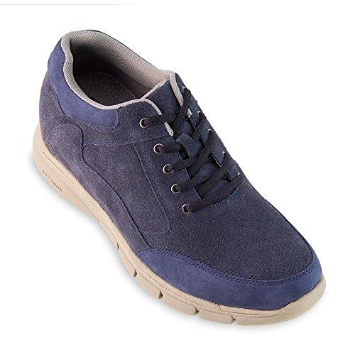 Scarpe con rialzo da uomo che aumentano l'altezza fino a 7 cm. fabbricate in pelle. modello berna blu 42