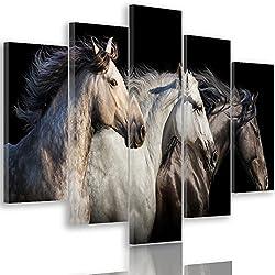 Feeby Frames, Cuadro en Lienzo - 5 Partes - Cuadro impresión, Cuadro decoración, Canvas Tipo A, 100x200 cm, Caballos, Animales, Naturaleza, Negro, Blanco