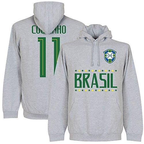 Retake Brésil Coutinho 11Team Sweat à Capuche–Gris, Homme, Gris, Moyen