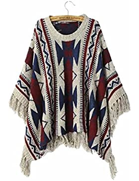 yall Señoras Suéter Folk Mantón Con Flecos Estilo Suéter Conjunto Cabeza Suelta