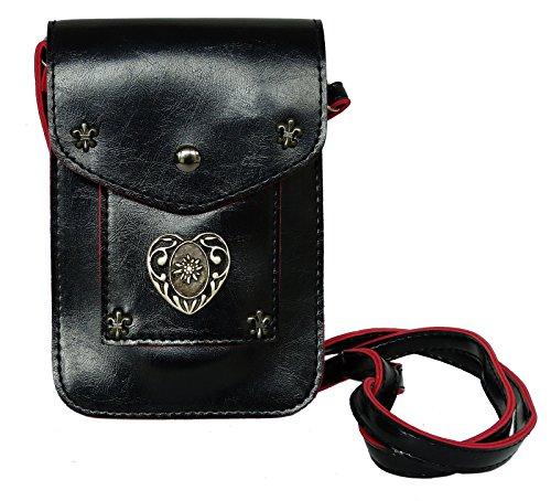 Trachtentasche Umgängetasche fürs Dirndl - Handtasche mit Herz Applikation - Edelweiss / Lebkuchenherz - PU Leder Schwarz