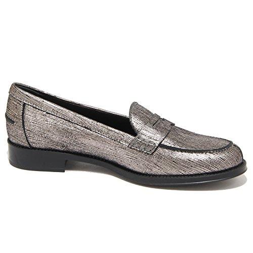 9190N mocassino TOD'S GOMMA RU grigio argento scarpe donna loafer women grigio argento