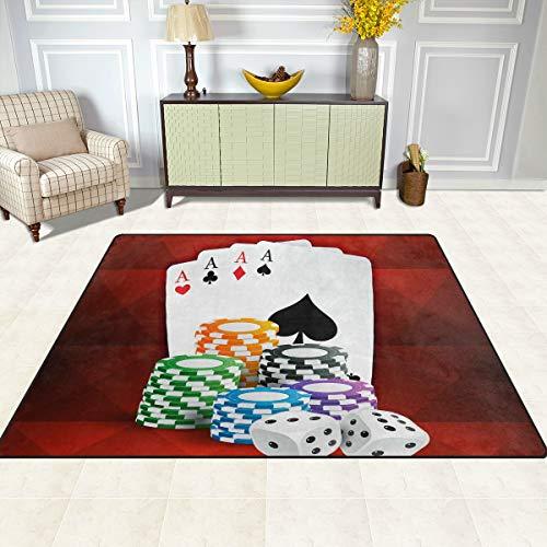 FAJRO Spielkarten mit Casino-Münzen und Würfelteppiche für Eingangsbereich, Fußmatte mit Mehreren Mustern, rutschfest, für drinnen und draußen, Polyester, 1, 80 x 58 inch