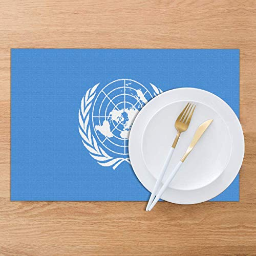 BigHappyShop Placemat,Flag of The United Nations Heat Insulation Non Slip Plastic Kitchen Stain Resistant Placemats and Coaster Sets 6 (United Nations-flag)