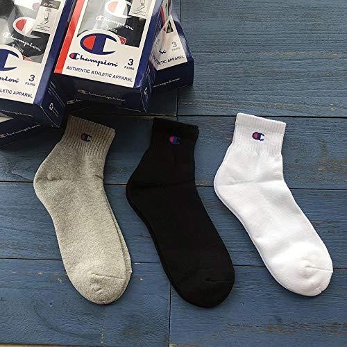 GJKS Socken Handtuch Bottom Sportsocken Baumwolle Herren Tube Toe Bottom Sportsocken Champion Trend Schwarz Und Weiß College Wind 5 Paare -