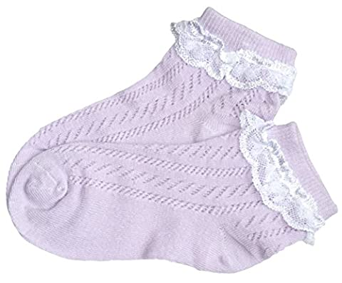girls' seam free pelerine socks with lace open knitted thin cotton Pointelle socks without toe seams (UK9-12/ EU27-30, 1 pair
