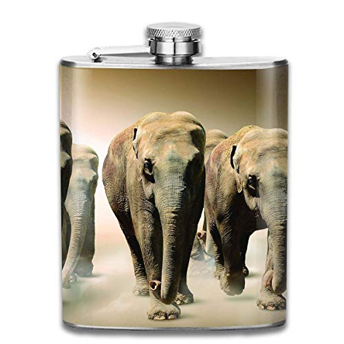 Elephant Group Wine Water Hip Flask for Liquor Stainless Steel Bottle Alcohol 7oz
