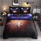 Wzz Bettwäsche 3 Teilig 3D Microfaser Basketball, Bettbezug, 2 Kissenbezug, für Kinder, Jungen, Mädchen Bettwäsche-Set,Basketball,135 * 210cm