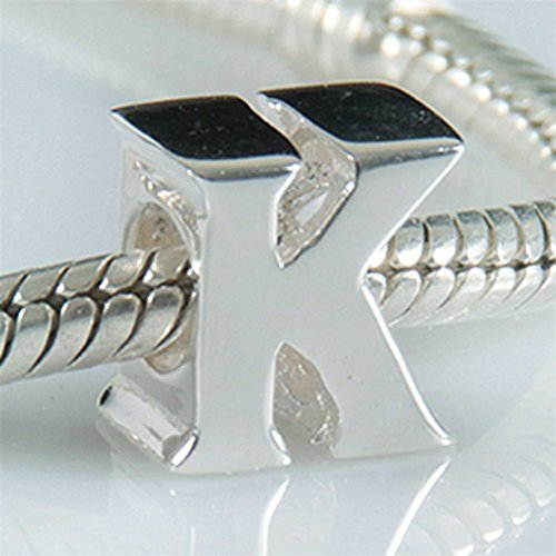 Armband Charms Pandora (Charms-Anhänger, Alphabet A-Z, aus 925erSterlingsilber, Perlen für Pandora-Armband Letter K)