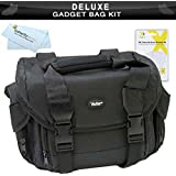 Deluxe Rugged Camcorder Bag / Case For JVC GS-TD1 GZ-HD520 GZ-HM30 GZ-HM440 GZ-HM450 GZ-HM50 GZ-HM650 GZ-HM670 GZ-HM690 GZ-HM860 GZ-HM960 HD Everio Camcorder + LCD Screen Protectors + MicroFiber Cleaning Cloth