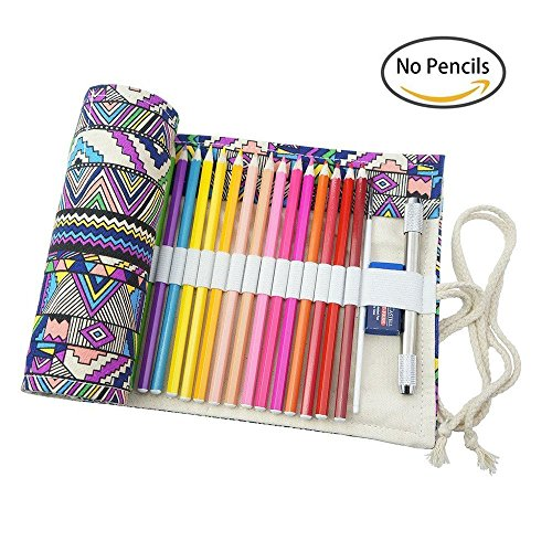 it 72Löchern, für Buntstifte/Bleistifte, Etui, aus Stoff, für Stifte (Anmerkung: wird ohne Stifte geliefert) Multicolor-72 ()