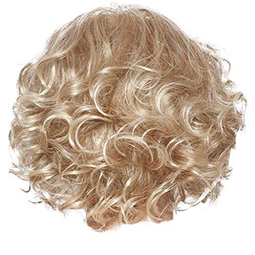 kashyk 30cm Damen Kurze lockige Haare, sexy Welle Rolle schräge Pony natürliche Flauschige lockige Perücke, voller, hitzebeständige Kunstfaser, Cosplay, jeden - Braunes Lockiges Haar Kostüm