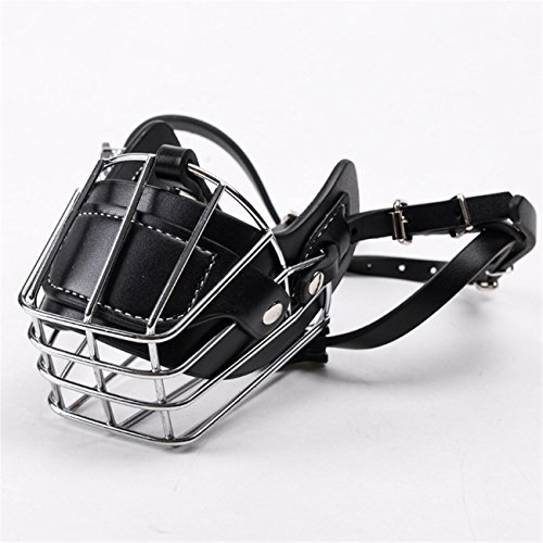 pet-dog-doggie-no-bark-bite-adjustable-prime-leather-and-iron-cage-mesh-muzzle-guard-mouth-cover-ant