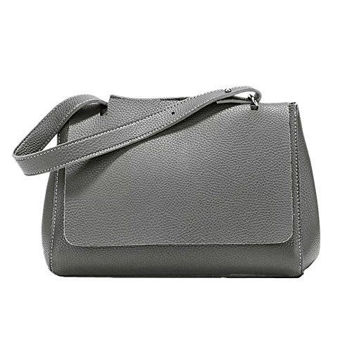 Donna PU Faux Leather Zipper Holder Clamshell Buckle shoulder bag Grigio Grigio Grigio