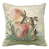 Trsdshorts Vintage French Easter Bunnies Pillow Case