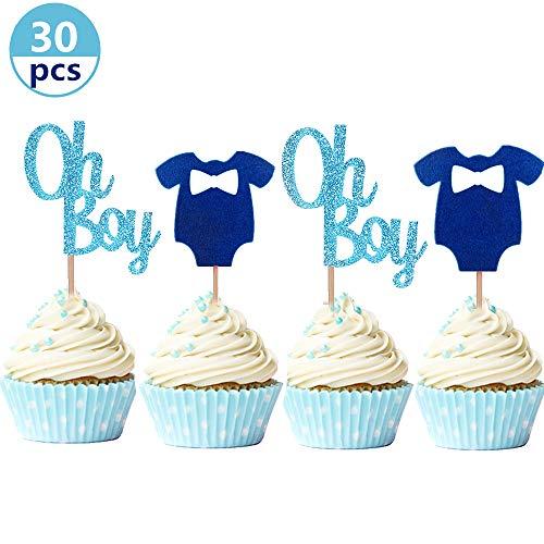 JeVenis Set mit 30 glitzernden Cupcake-Topper Oh Boy Blau Baby Jumpsuits Baby Shower Cupcake Toppers für Jungen Geburtstag Party Deko Baby Dusche Dekoration