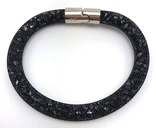 Swarovski Stardust Braccialetto medio 20 cm, disponibile in 2 colori nero e viola, colore: NERO, cod 5089843