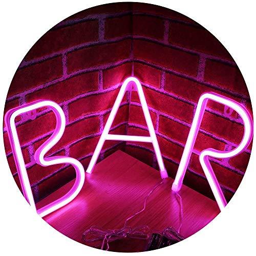 Rosa Neon Brief Leuchtreklamen Nachtlicht LED Festzelt Buchstaben Neon Kunst Dekorative Lichter Wanddekor für Kinder Baby Zimmer Weihnachten Hochzeit Party Dekoration (A) (pink BAR)