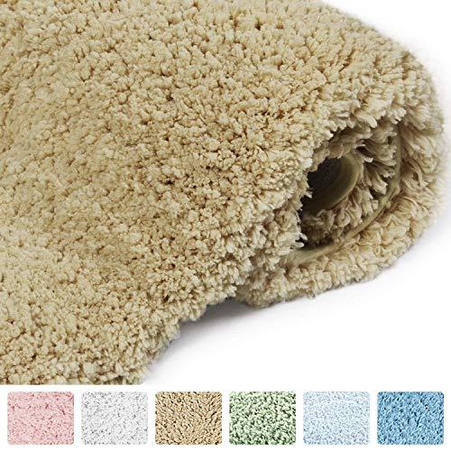 Felpudos de Baño Microfibra Suave Alfombra de Caucho Antideslizante Lujosa Alfombra de Baño 50x80cm de Color Caqui
