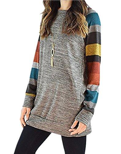 Damen Herbst Langarmshirt Sweatshirt Streifen Langarm T-Shirt Rundhals Oberteil Blusen Top B Grau 2 DE 50 (Kurze Metallischen Pullover Ärmel)