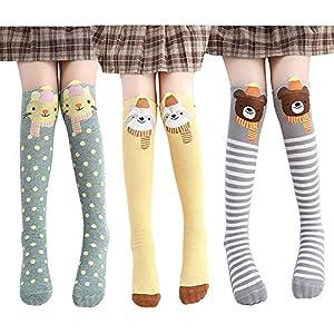 Lamdgbway Dibujos Animados Niña Alta Rodilla Calcetines Algodón Niños Medias Largas Calcetines Escuela por 3-12 años 15