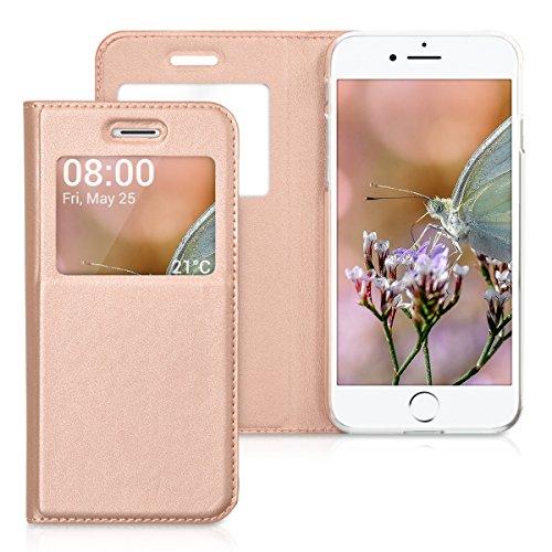 kwmobile Hülle für Apple iPhone 7 / 8 - Bookstyle Case Handy Schutzhülle Kunstleder mit Sichtfenster - Flipcover Klapphülle Rosegold .Rosegold
