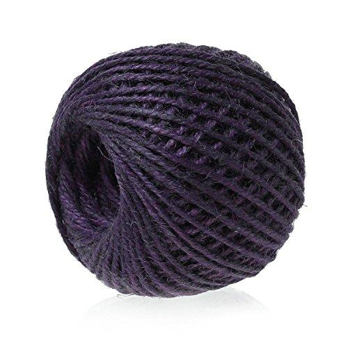 siaura Matériau – 80 m cordon de jute/Ficelle en jute, Violet, épaisseur 2 mm