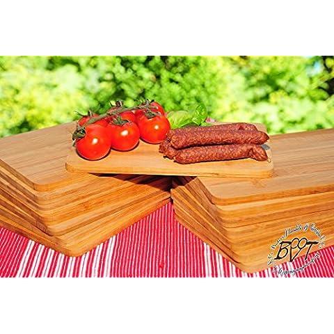 SERVIER–e grill–Bruschetta, 36x in bambù–Massive, per ca. 8mm forte legno di alta qualità e grill–Frühstücksbrett tradizionale naturale, dimensioni quadrata ca. 22cm x 14cm come SERVIER–e grill–Bruschetta, Tagliere, pane tempo e Di tagliere, Bayerisches pane tempo per barbecue e grill brettl con manico in legno, nuovo massive per taglio e di taglieri, bistecca piatto prosciutto per barbecue e grill da BRETT rustico, prosciutto piatto di BTV, pane tempo piatto Bayern, Wild tagliere da e per barbecue, Wildbret