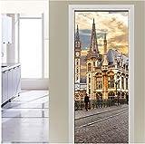 Türaufkleber Europäische Stadt Street View 3D Schlafzimmer Parlor Tür Aufkleber Wandaufkleber Ausgangsdekor PVC Selbstklebende Wasserdichte Aufkleber Tapete