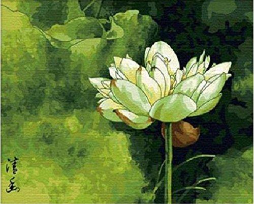 Ruhige Lotus-DIY Malerei Kunsthandwerk Malen arbeitet Malen nach Zahlen 16x20 Zoll Frameless