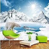 Wandbild 3D schöne Eisbär Eis Schnee Sonnenschein Wandmalerei Schlafzimmer Wohnzimmer Sofa Vlies Wandbilder Fototapete XXL 300X766CM