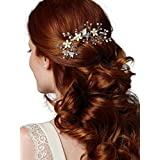 Mariell Bridal Hair Comb with Hand Painted Silvery Gold Leaves, Freshwater Pearls and Crystals Sprays
