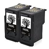 H&BO Per Canon PG 540XL Resa elevata Mostra livello d'inchiostro Cartucce d'inchiostro rigenerate compatibili per Canon Pixma MG3650 MG4250 MG3250 MX5350 MX 375 MX475 MG4200 3500 3600 3150 4150 2150 2250 3350 Stampanti (2 Nero)