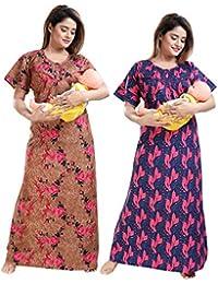 Tufab® Women Beautiful Print Poly-Cotton Invisible Zip Pattern Feeding/Maternity/Nursing Nighty/Night Gown/Nightwear (Free Size) (Pack of 2 Pcs) Smart Combo