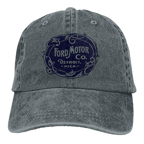 Fashion Home Vintage Ford Motor Company Detroit Retro Cool Adjustable Travel Cotton Washed Denim Caps Natural
