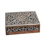 Fotobox Holzbox mit Blumen-Muster Schatulle Fotos Bilder-Box Schmuck-Box Ornament von Haus der Herzen