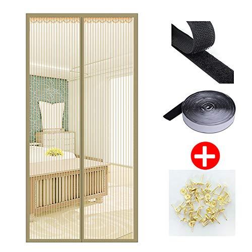 Ablea zanzariera magnetica velcro adesivo,zanzariera porta finestra magnetica anti-zanzare calamite tenda zanzariera porta magnetica,beige,100x210cm