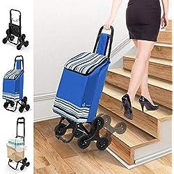 VOUNOT Chariot de Course Chariot marché 6 Roues - 3 Roues de Chaque côté 2 en 1 Poussette marché Pliable et Diable Caddie Panier Montant escalier Bleu