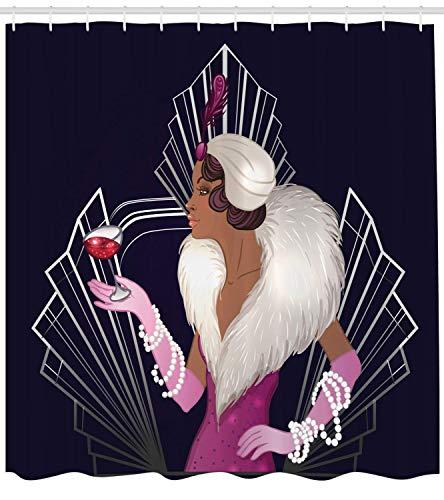 OuopBgbkkjn Alter Hollywood Duschvorhang im Stil der 1920er Jahre Dame mit Pelzkragen und Armbändern mit einem Sektglas Stoff Badezimmer Dekor Set mitLong Navy Fuchsia