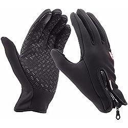 Upspirit - Guantes unisex de ciclismo impermeables y térmicos, diversos colores, color Black M, tamaño M Black