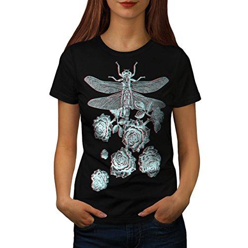 libellule-fleur-insecte-une-fleur-femme-nouveau-noir-l-t-shirt-wellcoda
